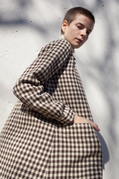 Impressionist Coat Dress in Check Brown