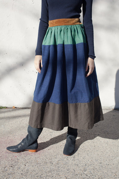 Elevation Long Skirt in Indigo