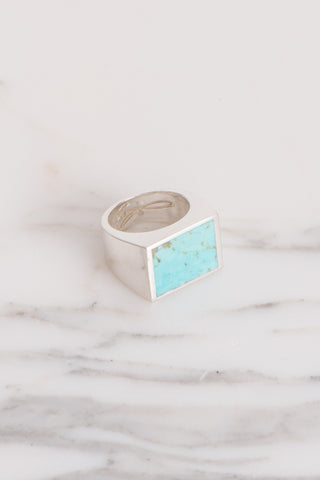 Legier Turquoise Stone Signet Ring in Silver | Oroboro Store | Brooklyn, New York