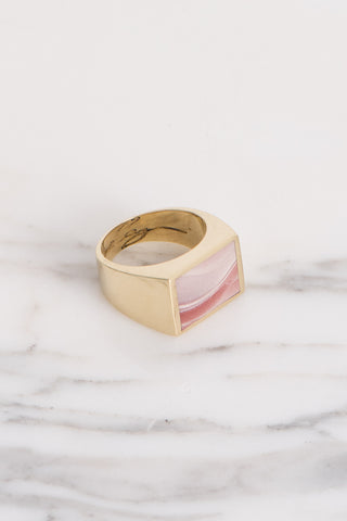 Legier Zion Rhyolite Wonderstone Stone Signet Ring in Brass | Oroboro Store | Brooklyn, New York