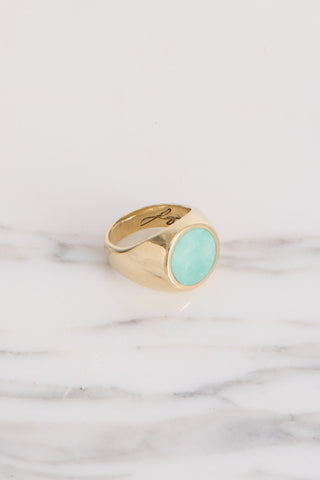Legier Turquoise Round Stone Signet Ring in Brass | Oroboro Store | Brooklyn, New York