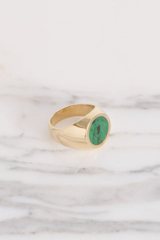 Legier Green Parrot Wing Jasper and Malachite Round Stone Signet Ring in Brass | Oroboro Store | Brooklyn, New York