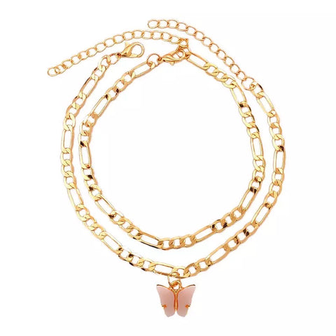 Pink Gold butterfly Duo Anklet