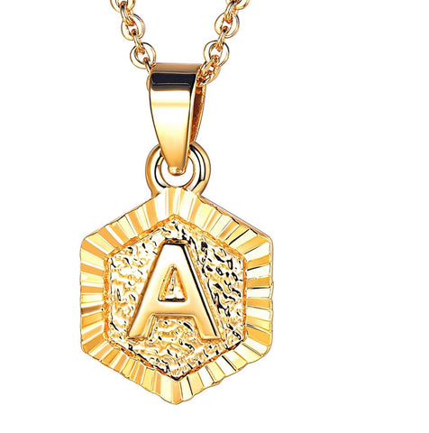 Hexagon Shaped Initial Necklace