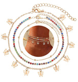 Gold / silver Butterfly trio-set anklet