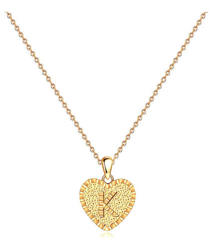 Full heart shaped initial necklace