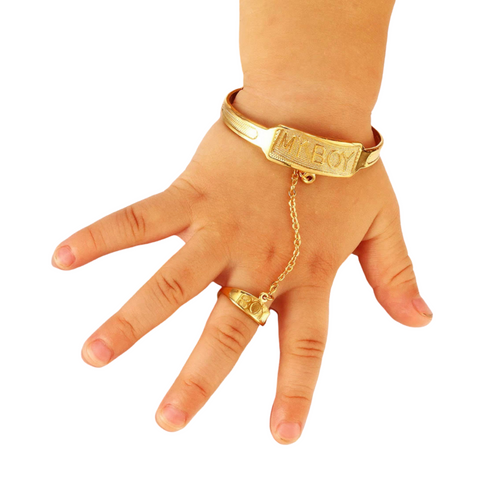 Gold plated Baby Boy Bracelet and Ring