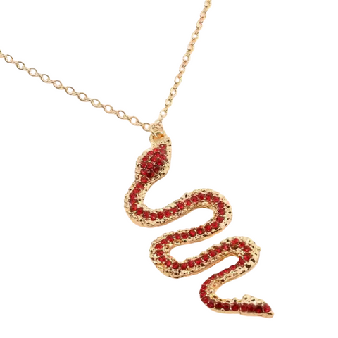 Vintage Red Snake Gold necklace