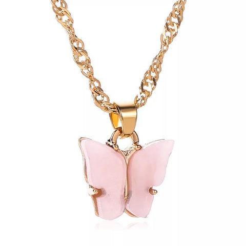 Pink Gold Butterfly necklace