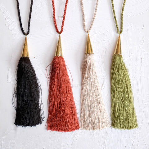Zabra Tassel Necklace - colours