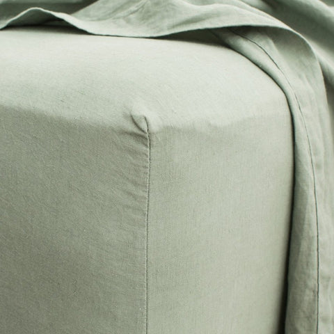 Pure Linen - Sage Fitted Sheet