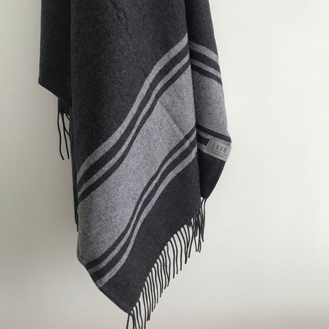 Loom - Merino Cashmere Throw - Charcoal Marle Stripe