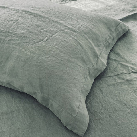 Pure Linen - Sage Pillow Slips Oxford
