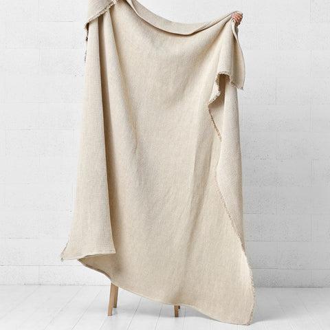 Mimaly Linen Bed Throw- Natural