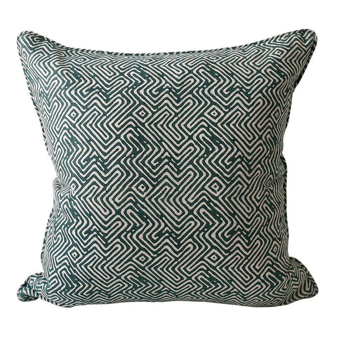 Khotan Linen Cushion - - Pacific Blue