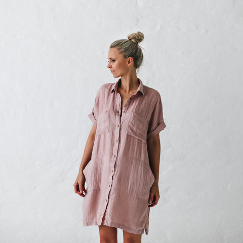 Linen Tunic - Dusty Pink