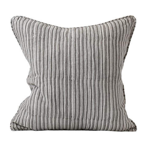 Ticking Mud Linen Cushion