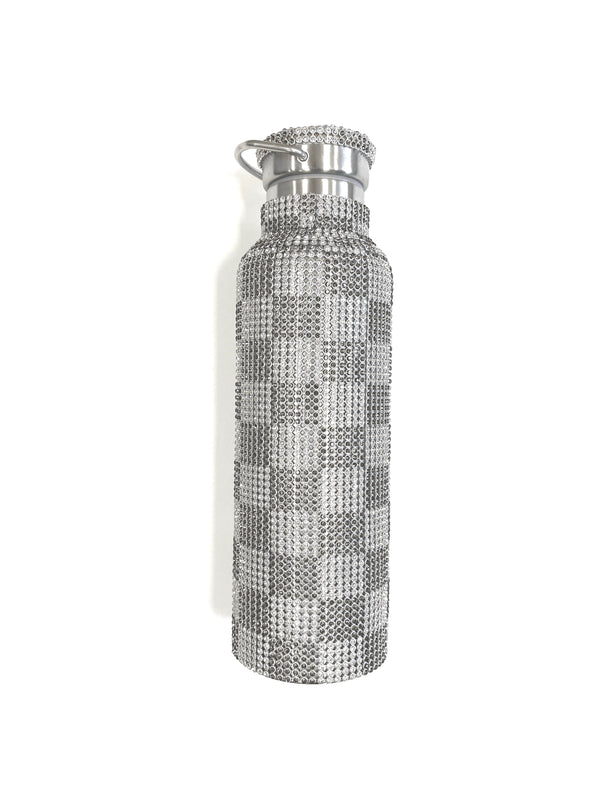 RHINESTONE WATER BOTTLE BLACK AND WHITE