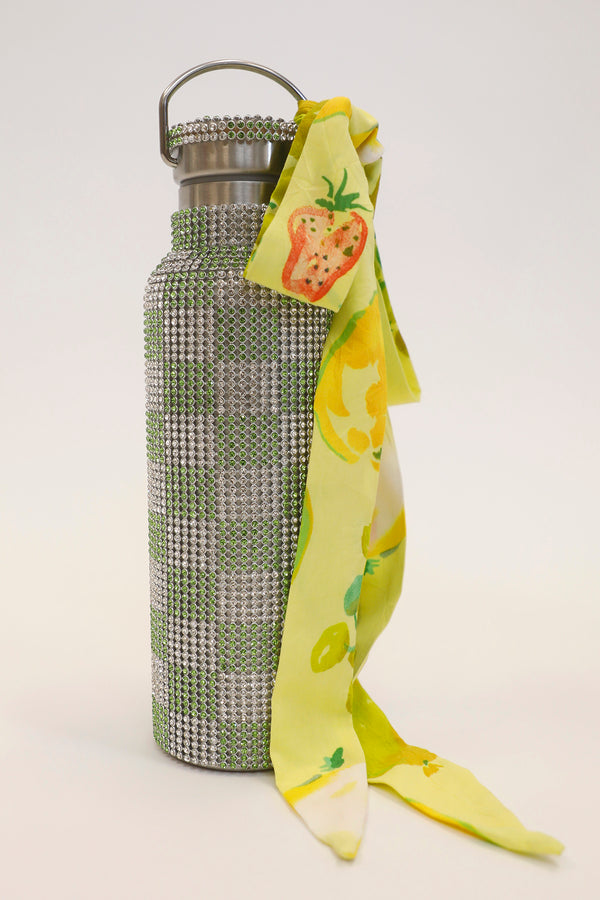 RHINESTONE WATER BOTTLE LIME CHECKER