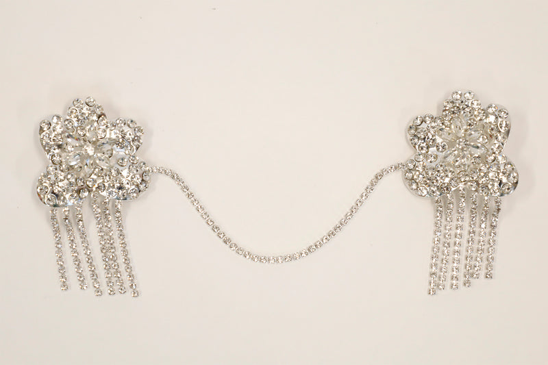 SILVER RHINESTONE FLOWER COLLAR PIN