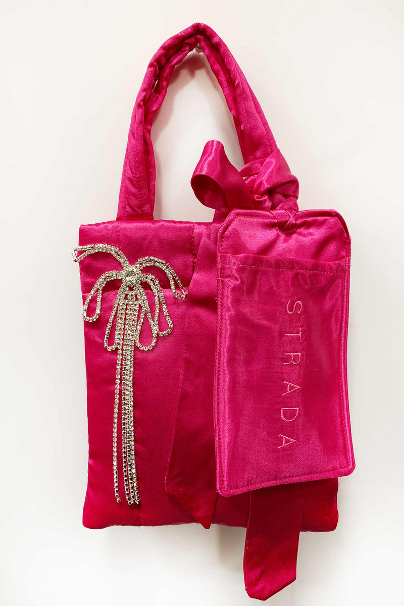 Hot Pink Satin Quilted Mémé Bag