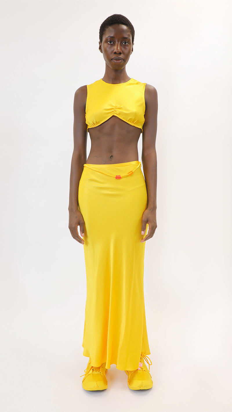 YELLOW SATIN MONTE CARLO TOP