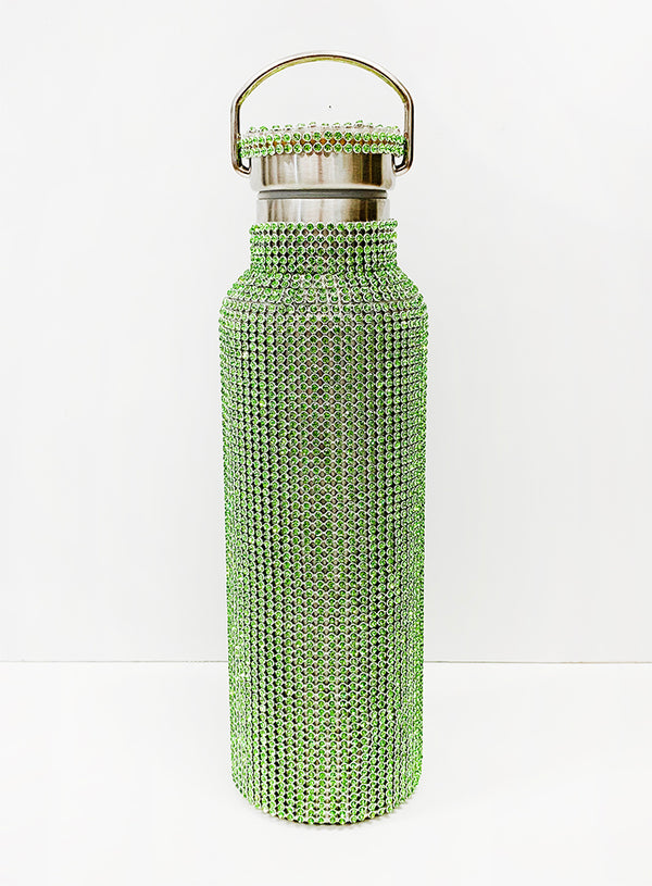 LIME RHINESTONE WATER BOTTLE