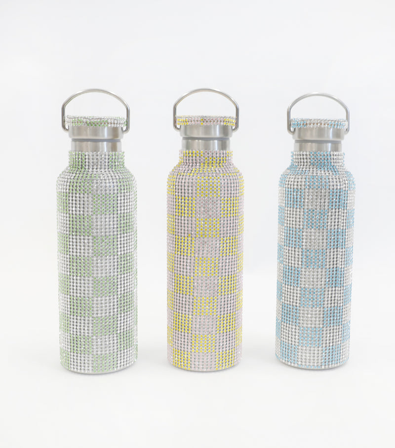 RHINESTONE WATER BOTTLE BLUE CHECKER