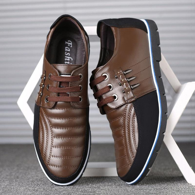 Large Size Men Genuine Leather Splicing Non-slip Soft Sole Casual Driving Shoes