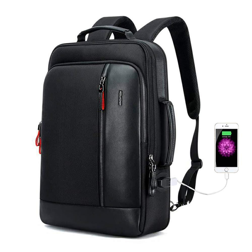 Backpack and Anti-Theft Laptop Rucksack with USB Charging Business Laptop Backpack for Men Water Resistant College Backpack, Black