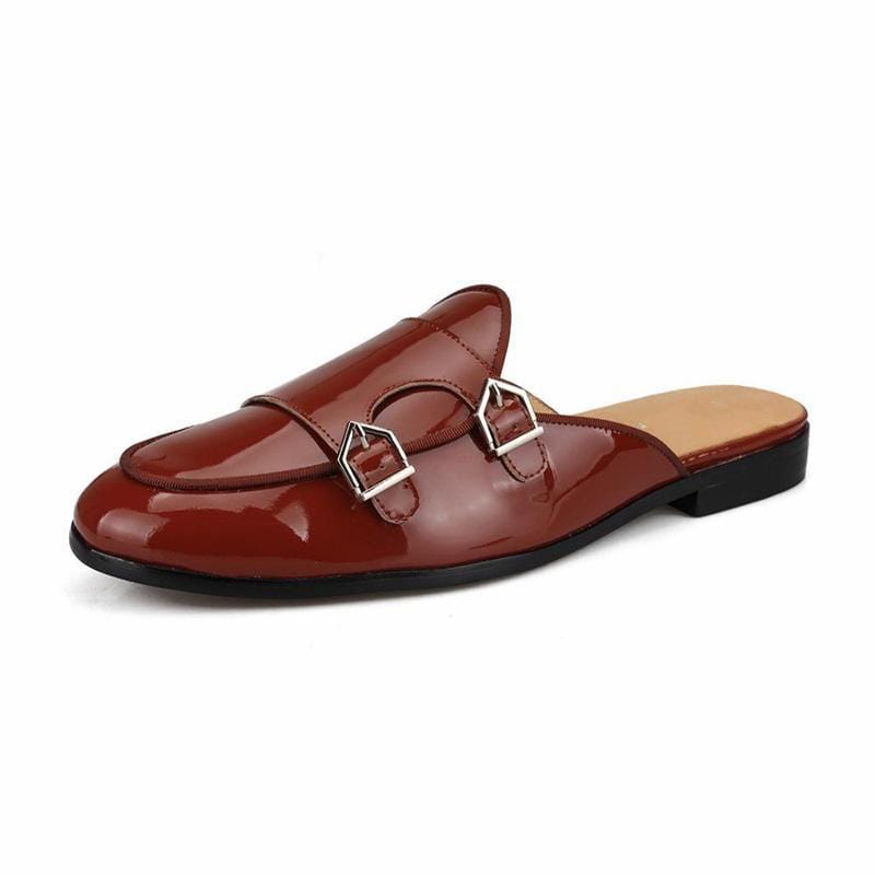 Men Vintage Buckle Soft Leather Slippers