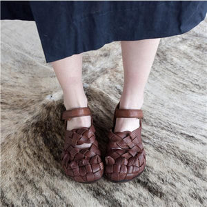 Women's Hand-woven Leather Flat Shoes