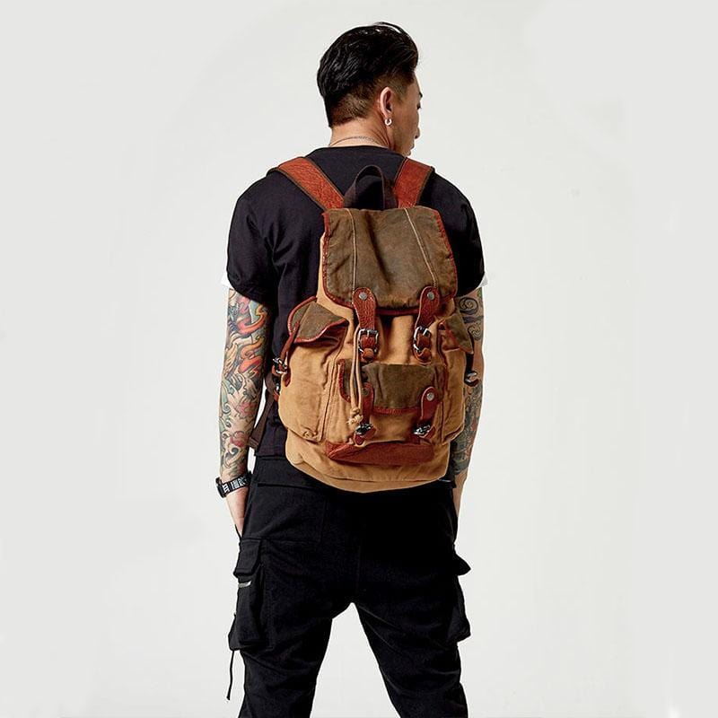 Men's Vintage Washed Canvas Backpack