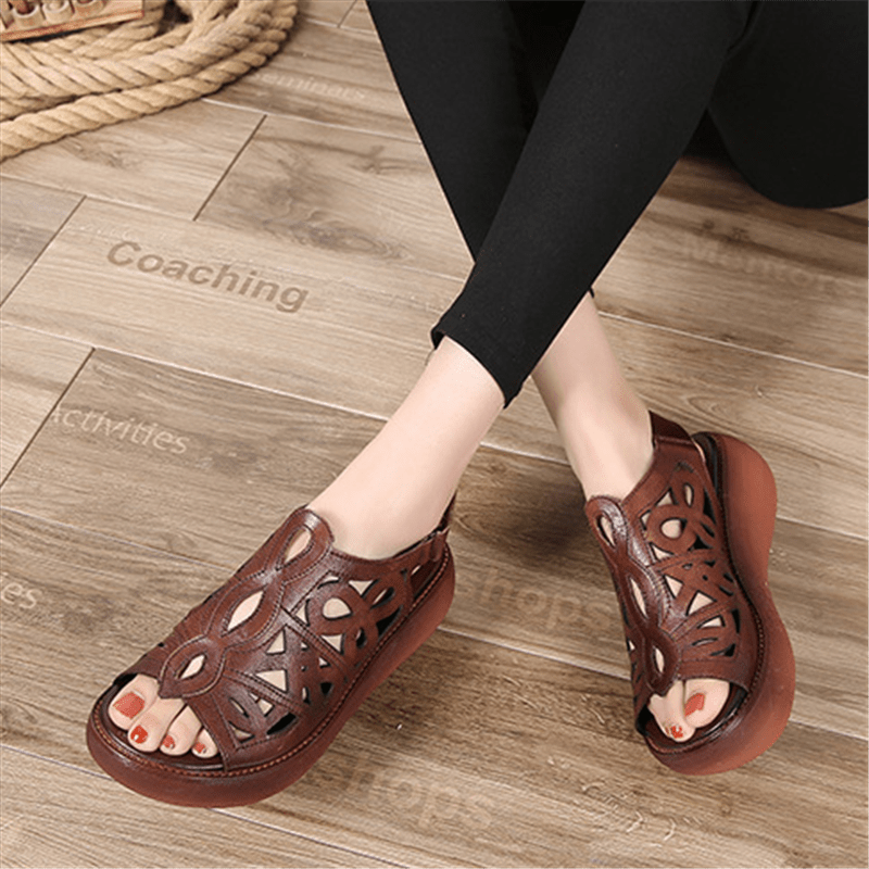 Leather retro platform hollow sandals