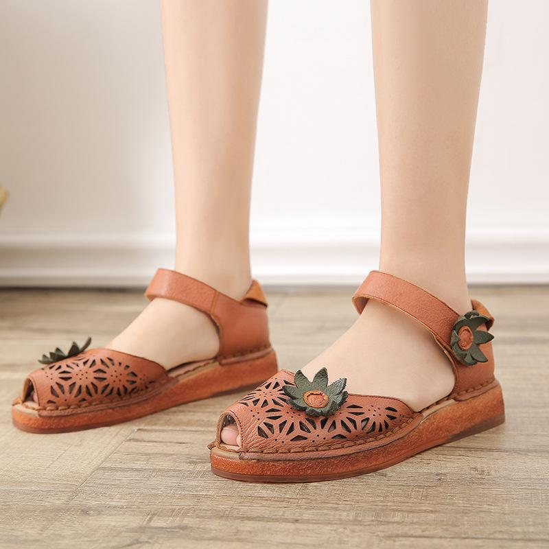 Peep-toe Vintage Genuine Leather Hollow Flower Flat Sandals
