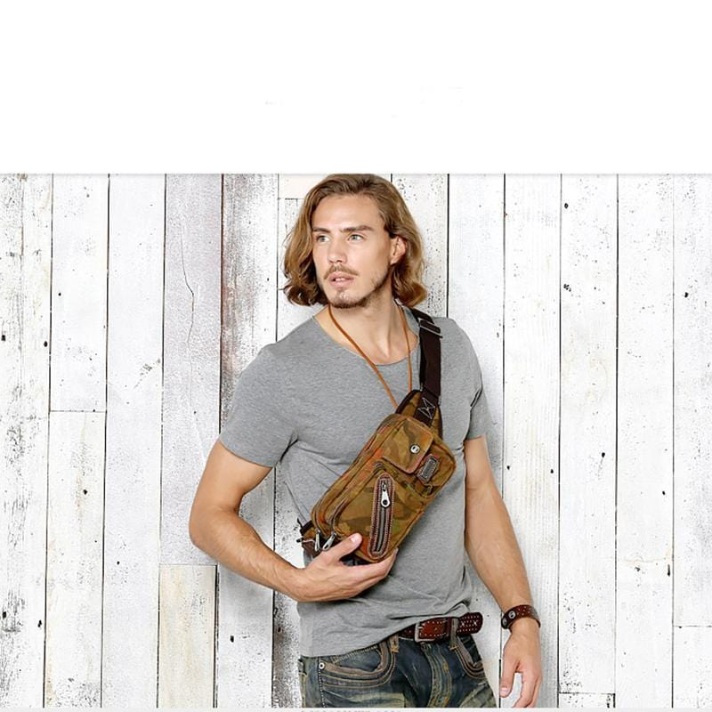 Men's Canvas Camouflage Color Chest Pack Waist Bag Crossbody Bag