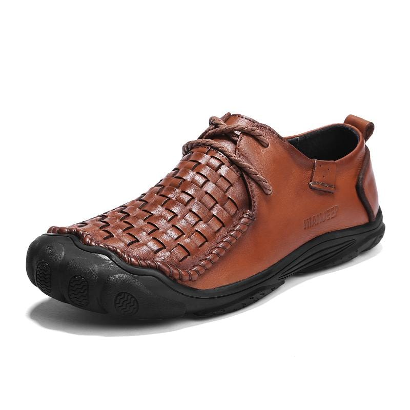 Men Leather Lace-up Non-slip Hiking Shoes