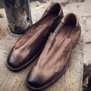Men's Vintage Leather Loafers Lazy Single Shoes
