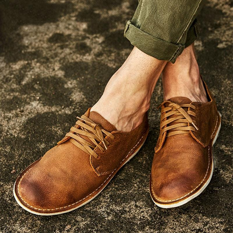 Men's Vintage British Style Low Cut Desert Shoes Tooling Shoes