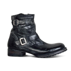 Men Vintage Leather Double Buckle Zipper Boot