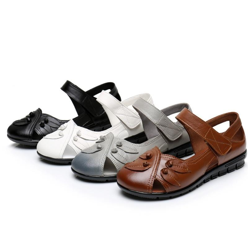 Women's Genuine Leather Handmade Soft Bottom Non-Slip Flat Sandals