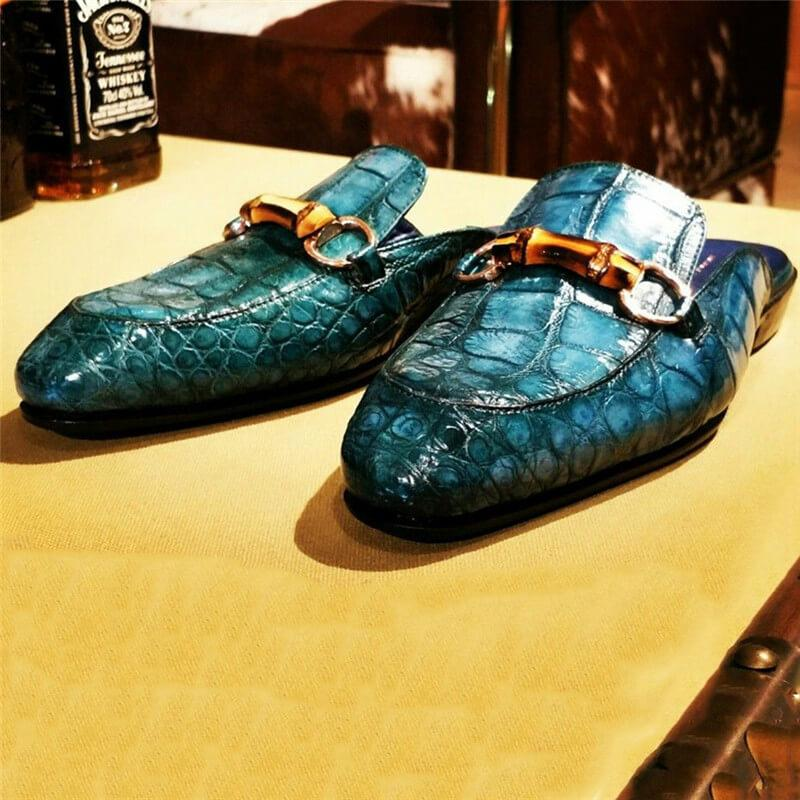 Men Handmade Snakeskin Pattern Leather Slippers