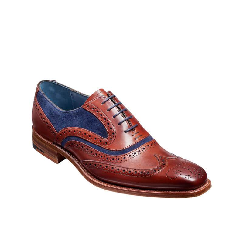 Men's Handmade Painted Brogue Leather Shoes