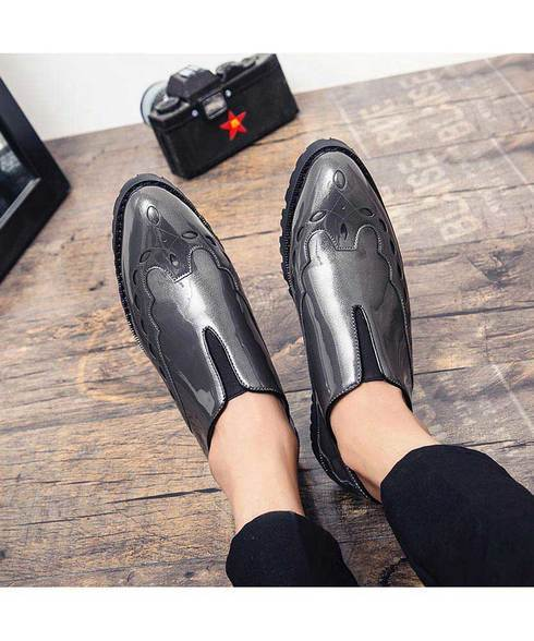 grey pattern leather slip on dress shoe