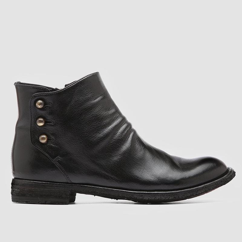 Men Leather Zip Ankle Boots