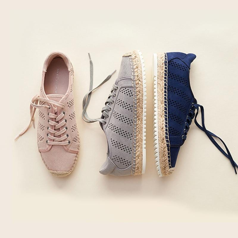Women's Perforated Espadrille Lace- up Sneakers