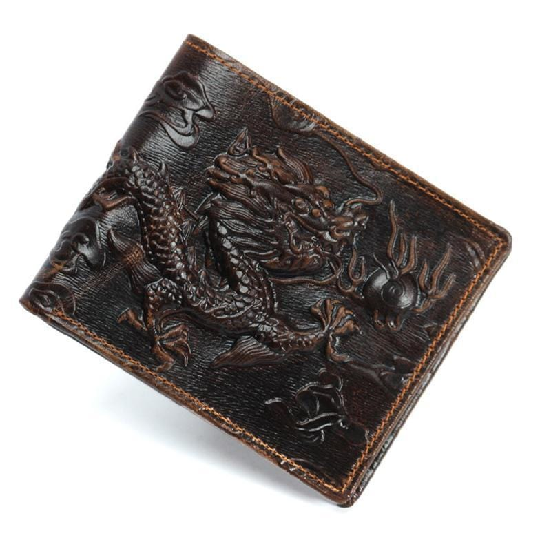 Men's Vintage Engraved Leather Wallet