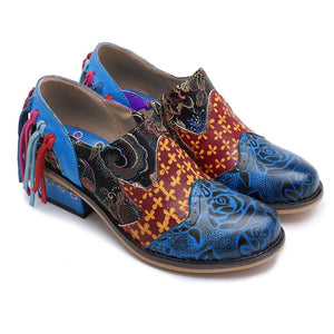 Retro Genuine Leather  Splicing Flower Pattern Loafers