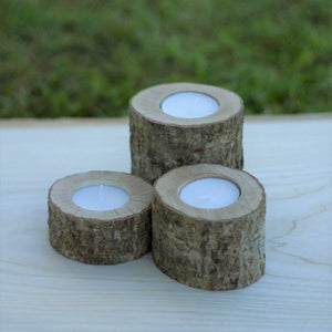 Set of 3 Wood Rustic Tea Light Candle Holders