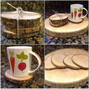 Set of 4 Wood Slice Coasters